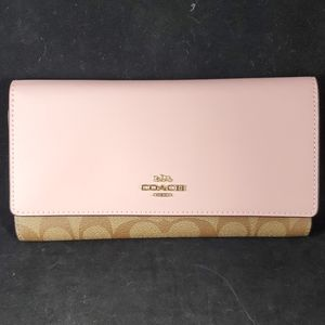 NWT Coach Pink Trifold Wallet Signature Canvas